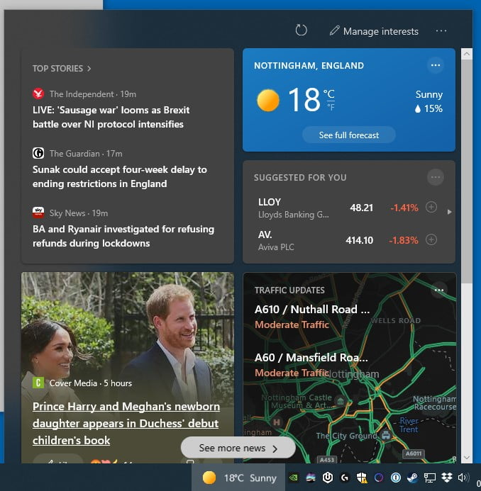 windows news widget